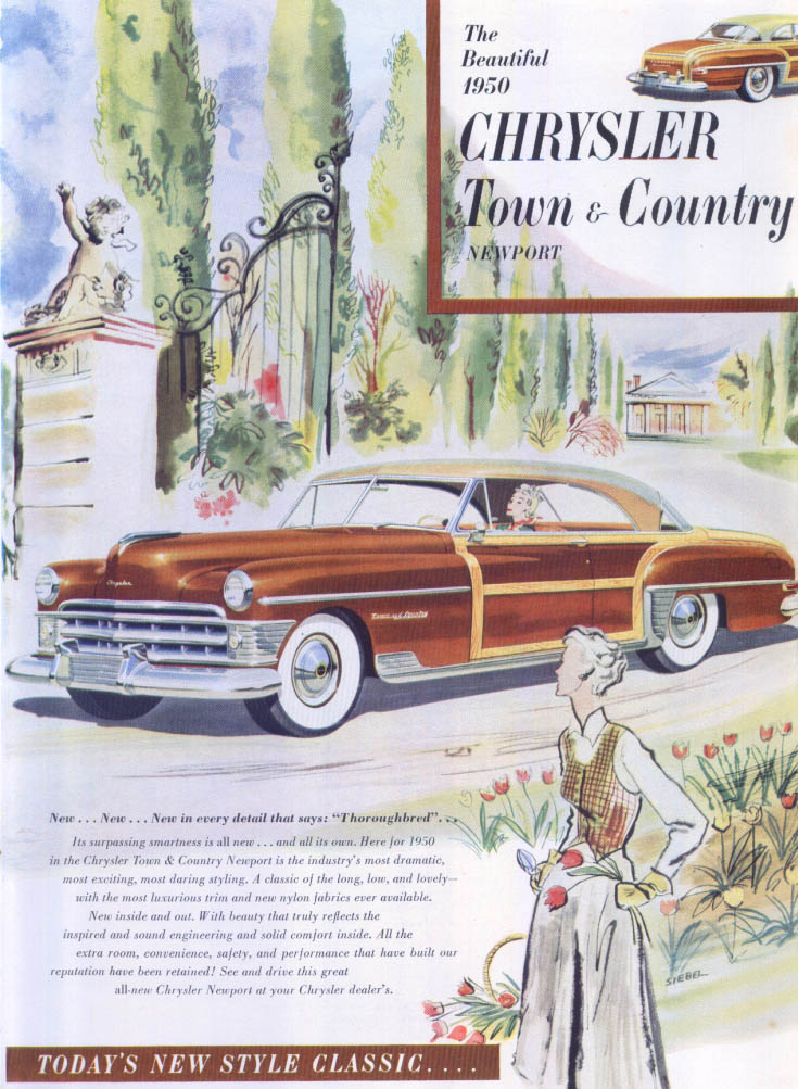 Image for Chrysler Town & Country Newport Thoroughbred ad 1950