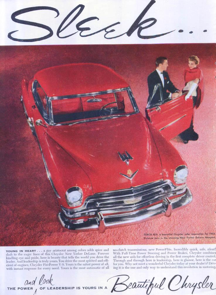 Image for Chrysler New Yorker DeLuxe Newport Sleek ad 1954