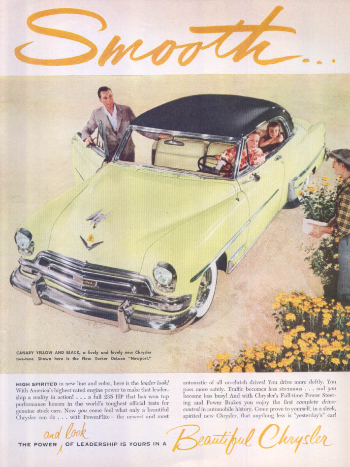 Image for Chrysler Smooth… New Yorker DeLuxe Newport ad 1954