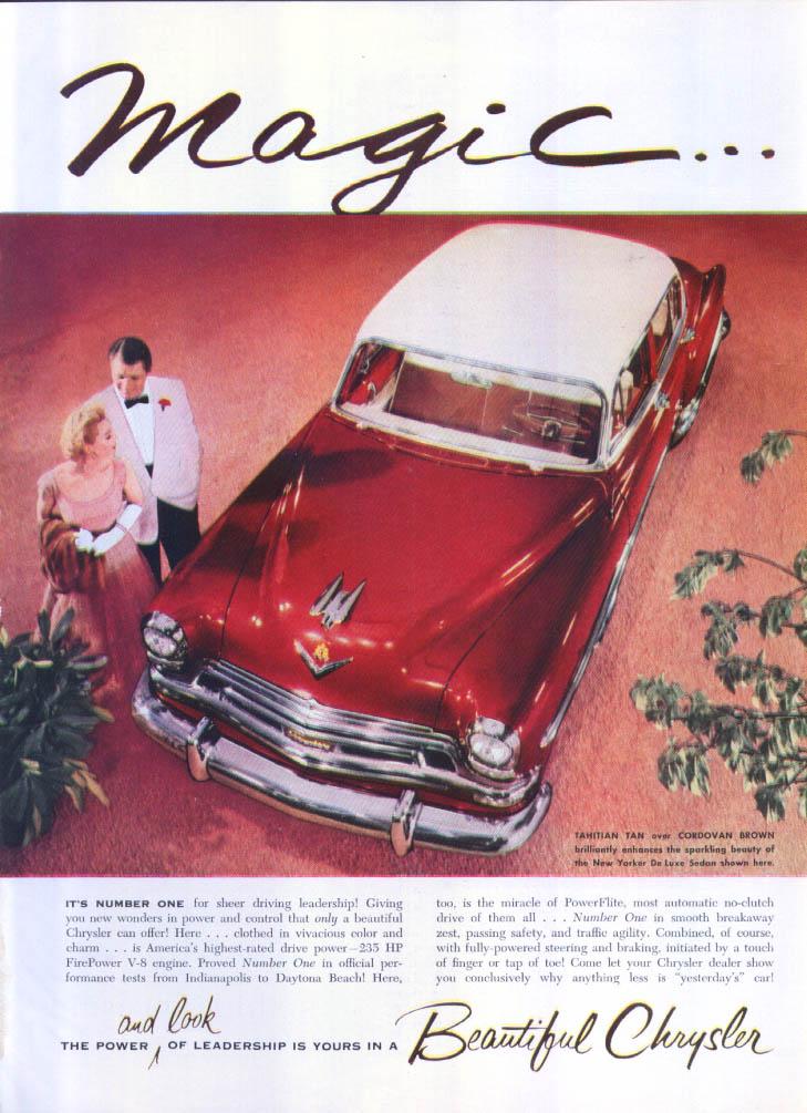 Image for Chrysler Magic New Yorker DeLuxe Sedan ad 1954