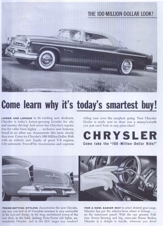 Image for Chrysler Windsor DeLuxe today's smartest buy ad 1955