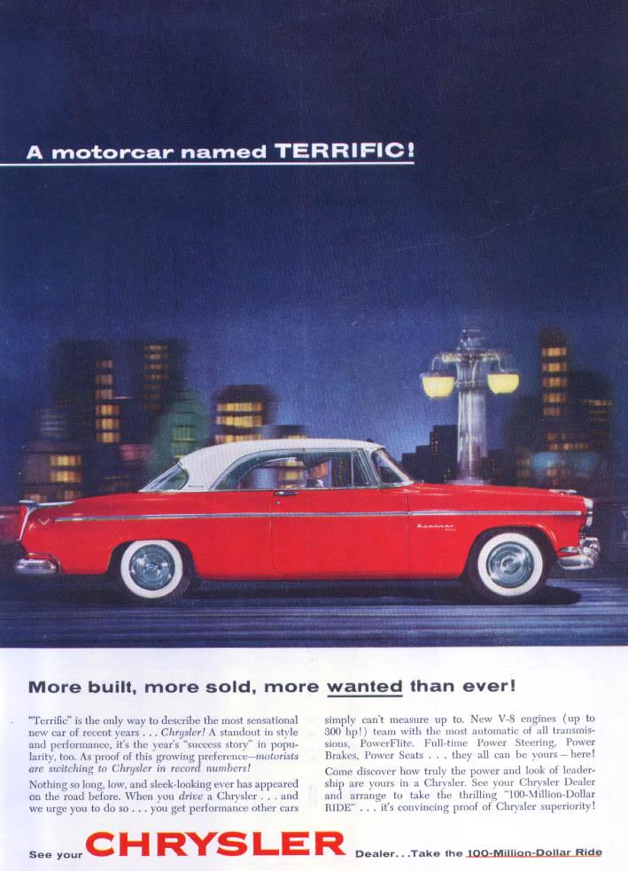 Image for Chrysler Windsor DeLuxe motorcar named terrific ad 1955