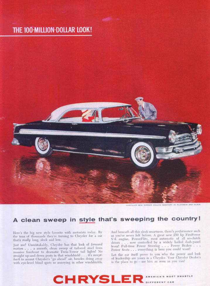 Image for Chrysler New Yorker DeLuxe Newport clean sweep ad 1955