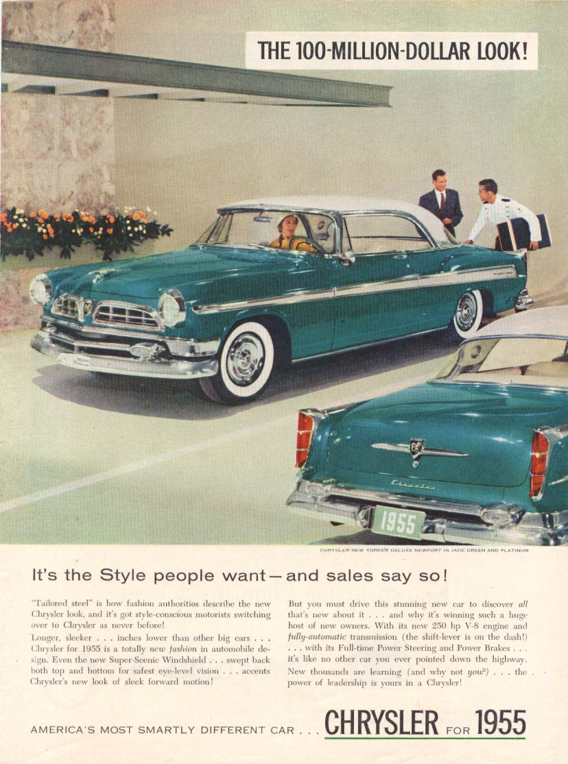 Image for Chrysler New Yorker DeLuxe Newport style want ad 1955