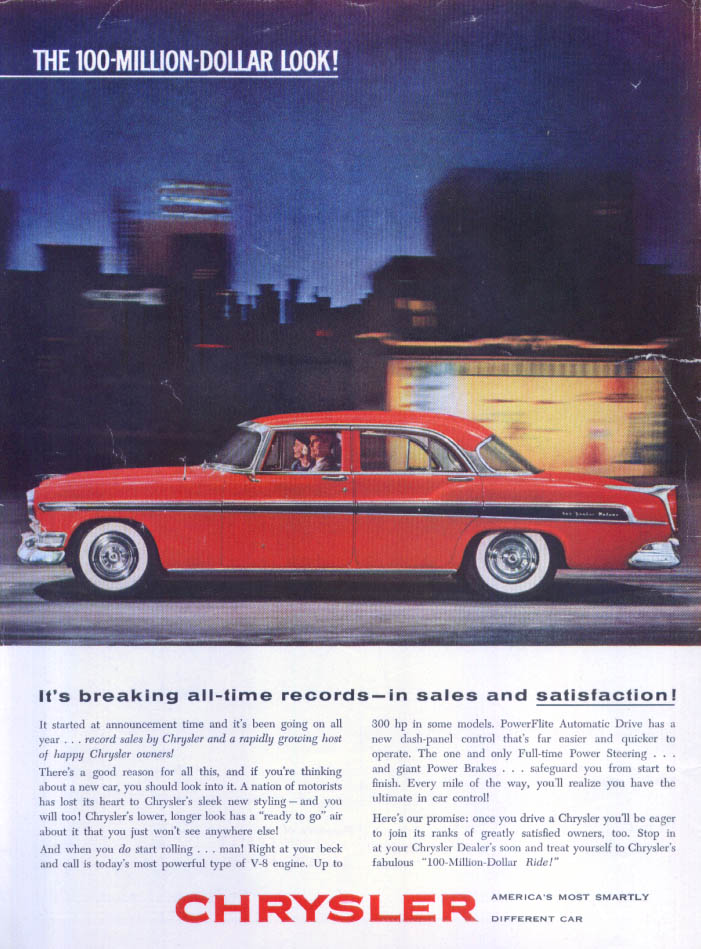 Image for Chrysler New Yorker DeLuxe sales satisfaction ad 1955