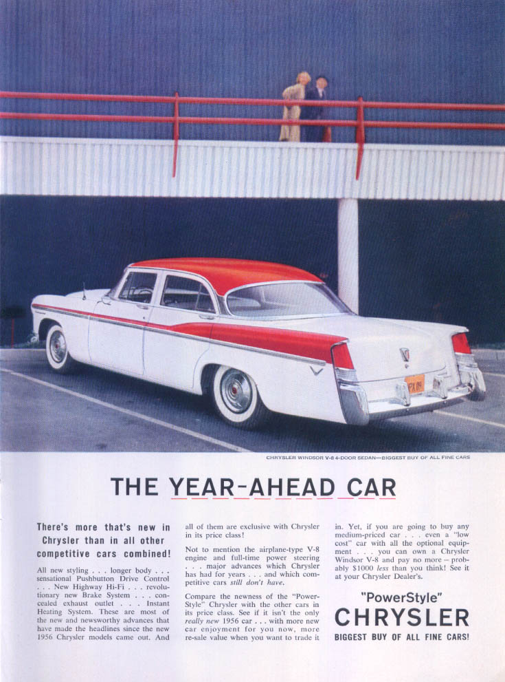 Image for Chrysler Windsor V-8 the year-ahead car ad 1956