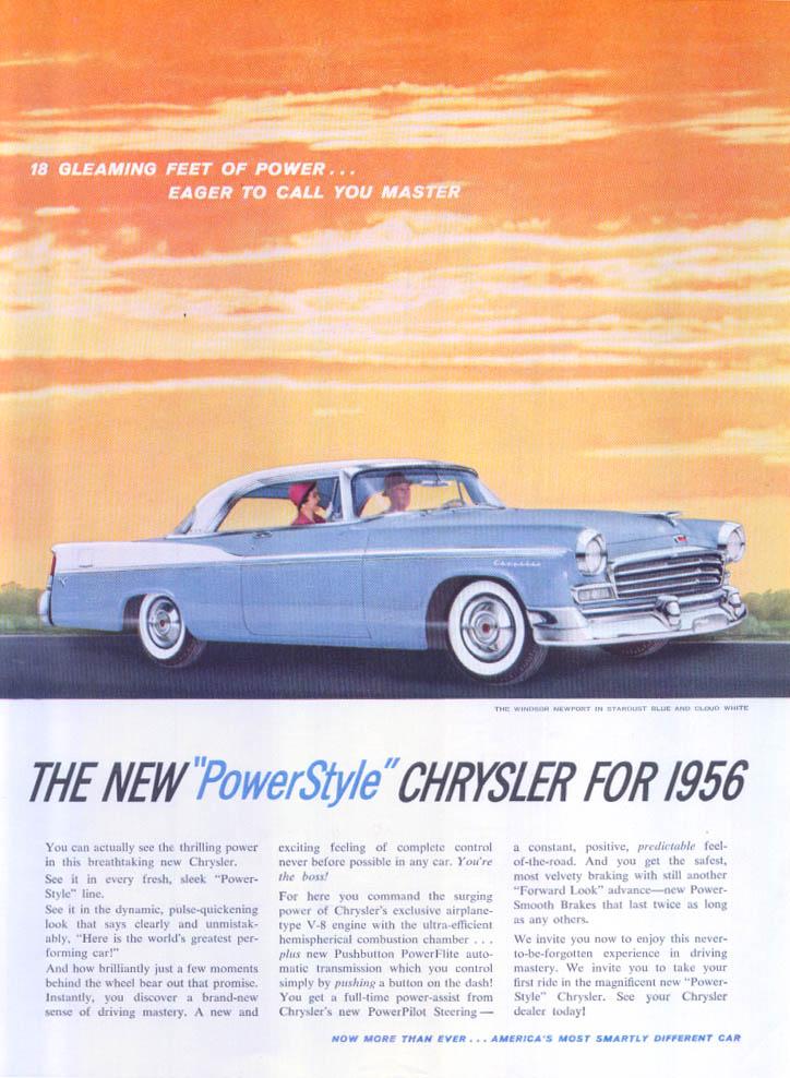 Image for Chrysler Windsor Newport 18 gleaming feet ad 1956