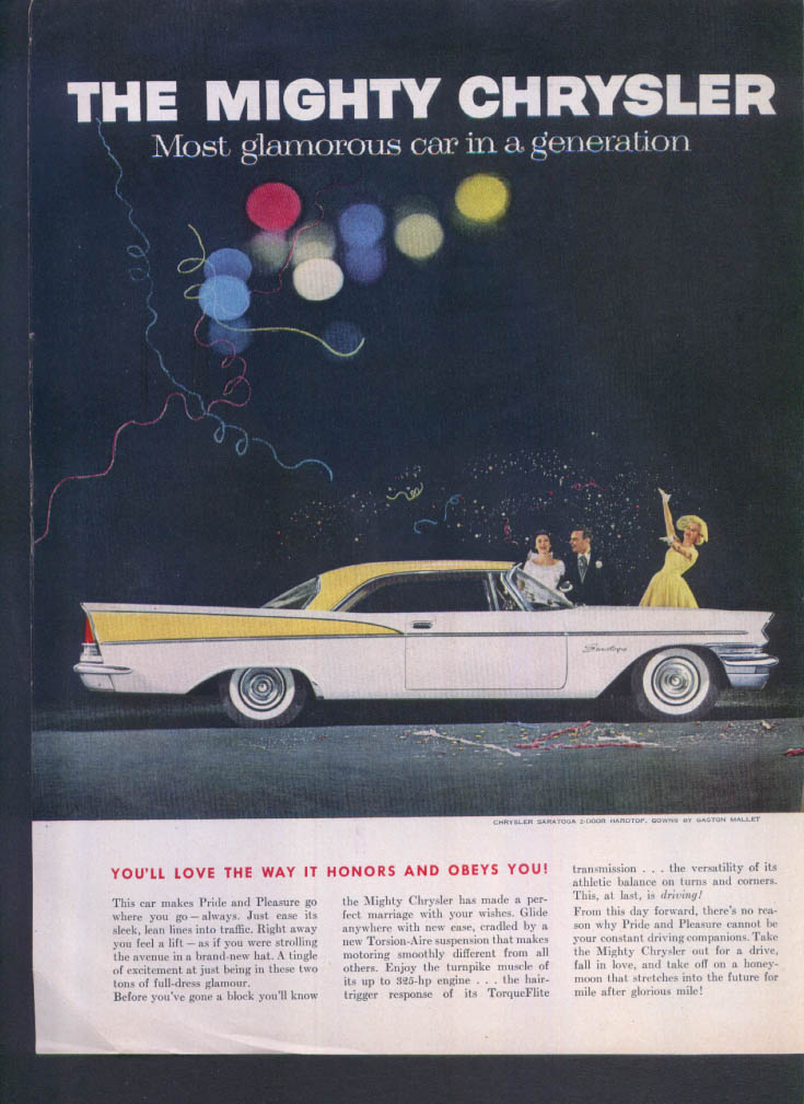 Image for Chrysler Saratoga Gaston Mallet honors obeys ad 1957