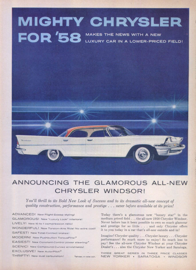 Image for Chrysler Windsor glamorous all-new bold look ad 1958