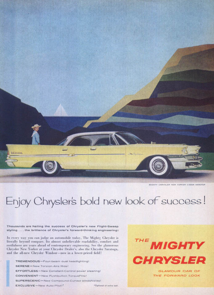 Image for Chrysler New Yorker bold new look of success ad 1958
