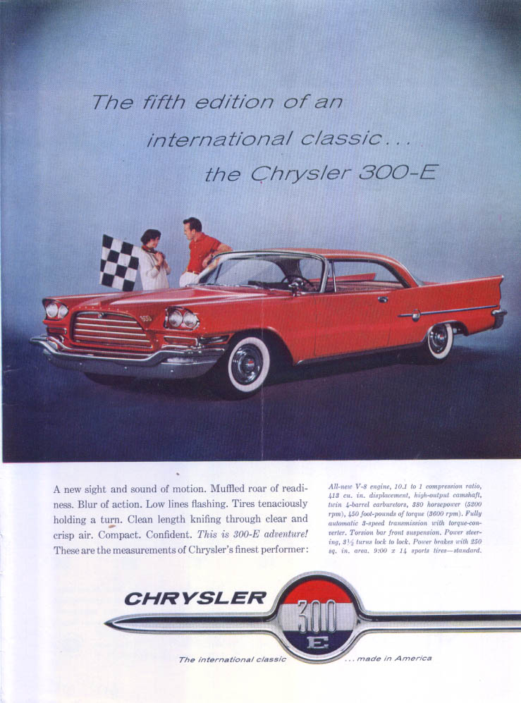 Image for Chrysler 300-E hardtop fifth edition classic ad 1959