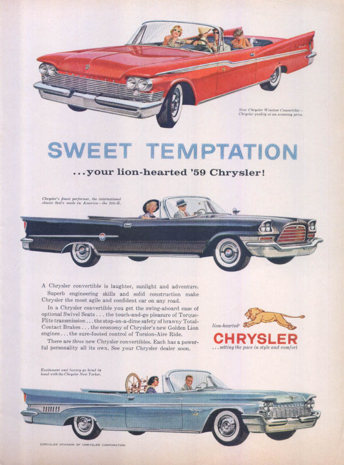 Image for Chrysler 300-E convertibles sweet temptation ad 1959