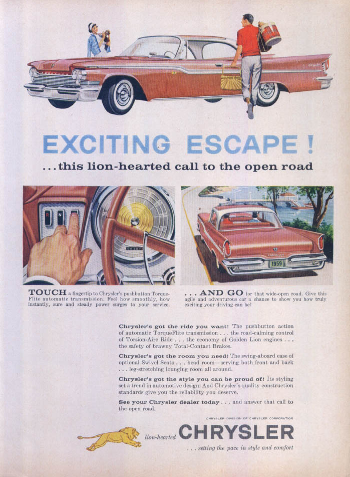 Image for Chrysler Exciting Escape Lion-hearted open road ad 1959