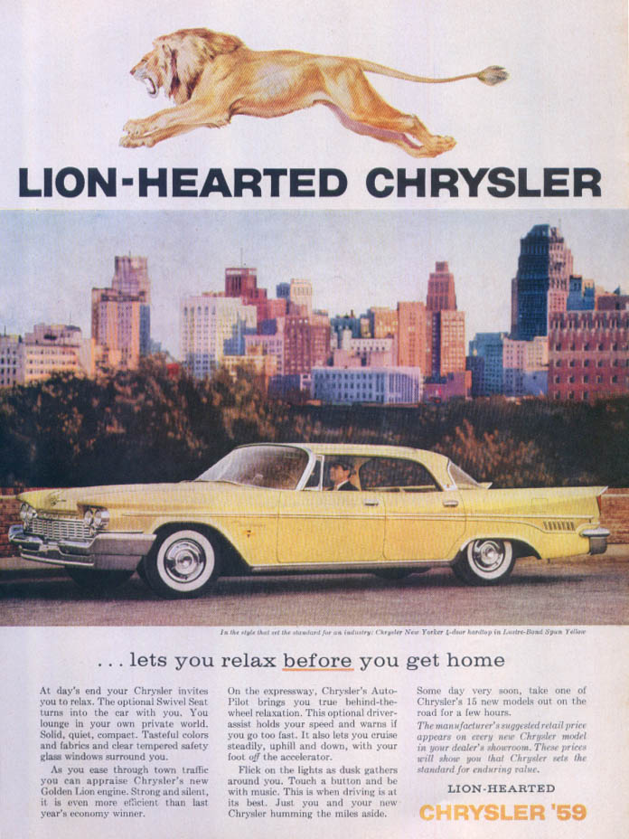 Image for Lion-hearted Chrysler New Yorker lets you relax ad 1959