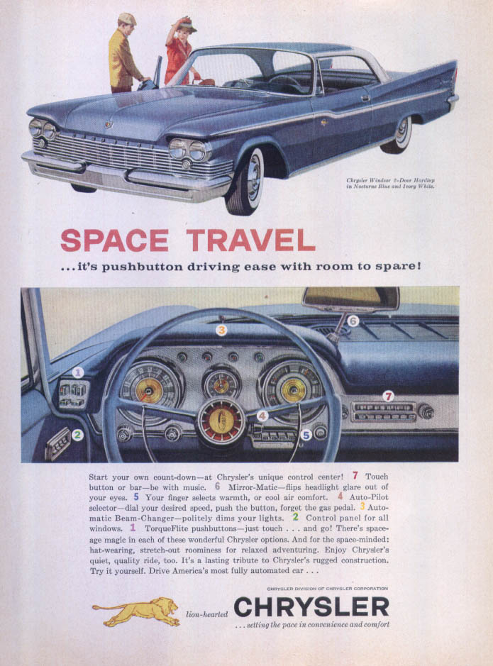 Image for Chrysler Windsor Space Travel pushbutton ad 1959