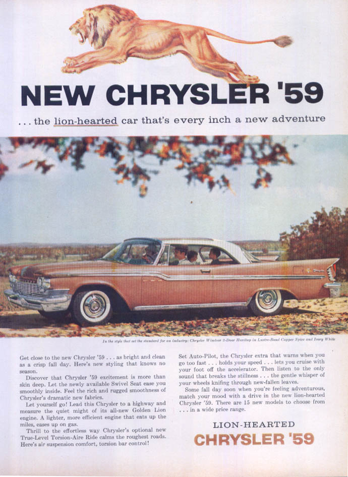 Image for Chrysler Windsor lion-hearted new adventure ad 1959