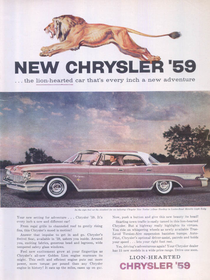 Image for Chrysler New Yorker new setting for adventure ad 1959