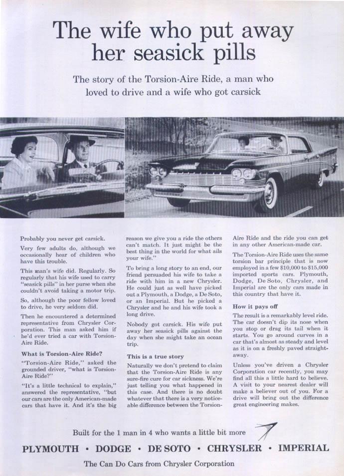 Image for Chrysler Windsor Saratoga seasick pills away ad 1959