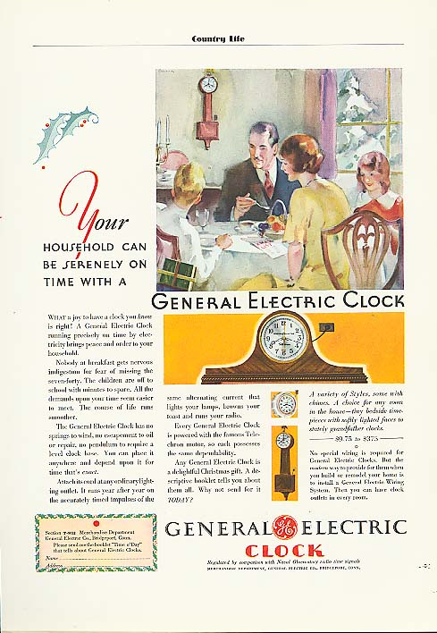 Image for Serenely on time General Electric Clock ad 1930