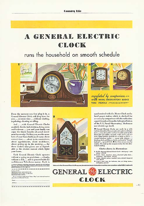 General Electric clock runs the household ad 1931