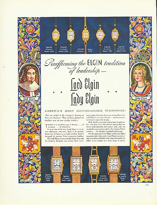 Image for Reaffirming a traditon Lodr & Lady Elgin Watch ad 1937