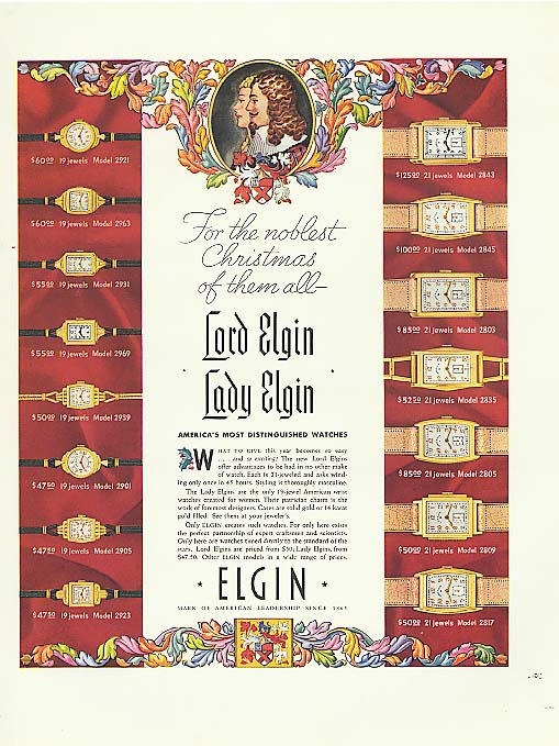 Noblest Christmas Lord & Lady Elgin Watch ad 1937