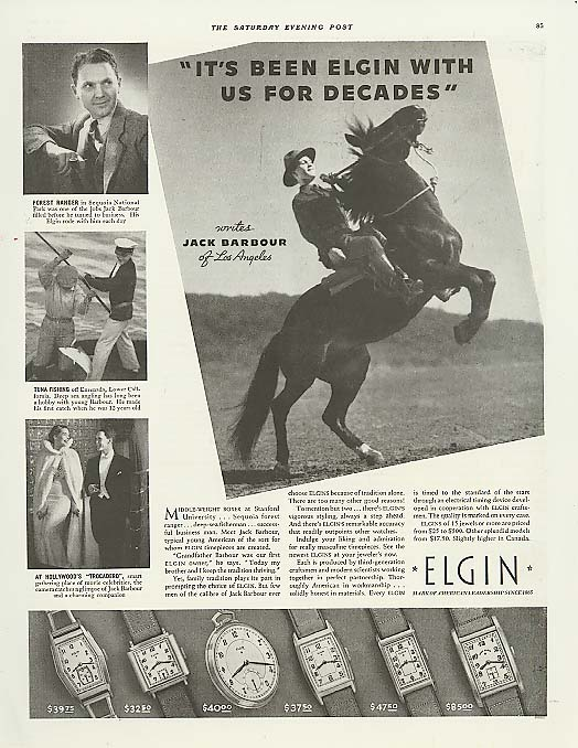 Jack Barbour of Los Angeles for Elgin Watch ad 1937