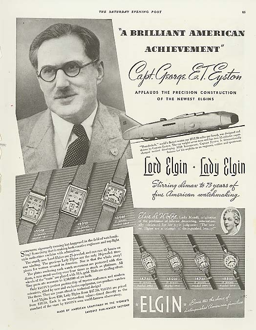 Capt Eyston's Thunderbolt 312mph Elgin Watch ad 1938