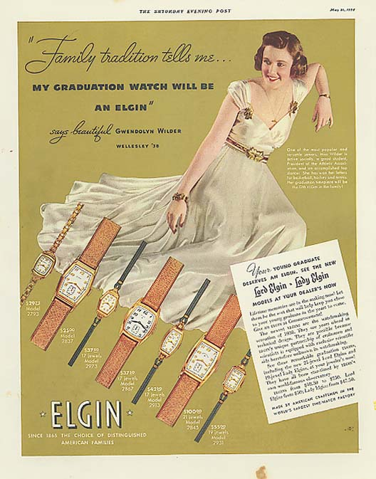 Gwendolyn Wilder Wellesley '38 for Elgin Watch ad 1938