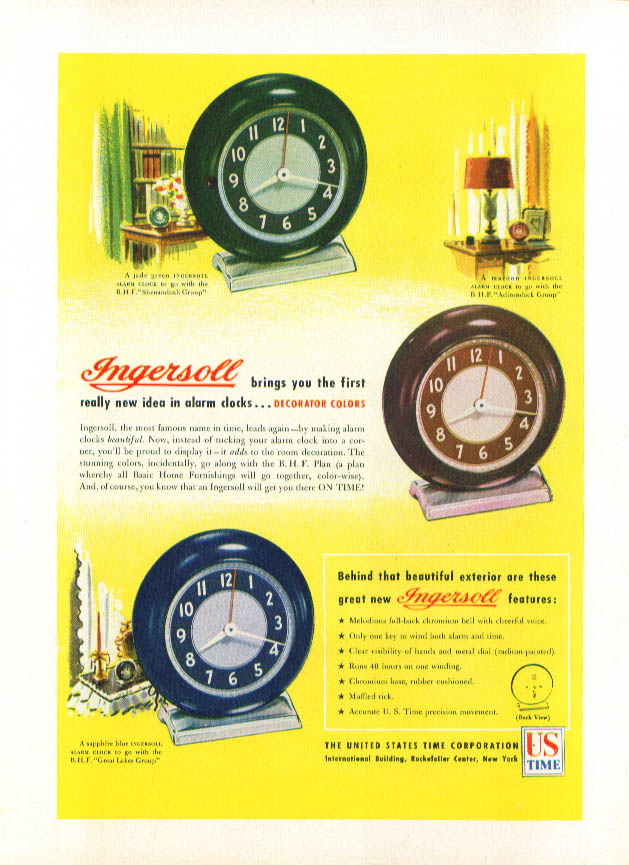 Ingersoll Decorator Colors Alarm Clock ad 1946 U S Time