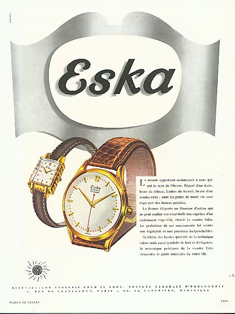 Eska wrist watch Le monde appartient French ad 1950