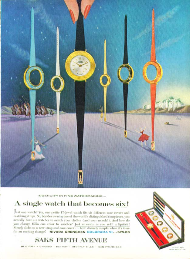 A single watch becomes six Nivada Grenchen ad 1960