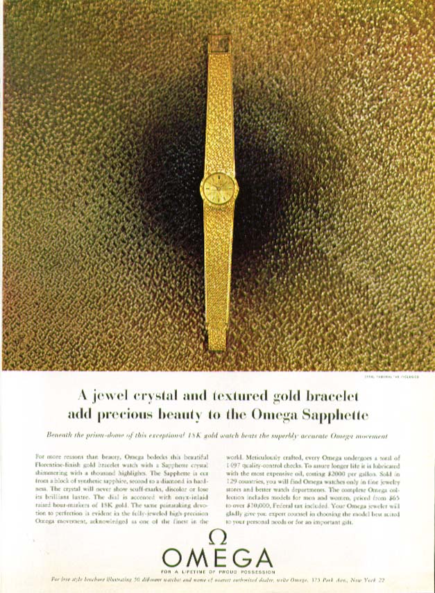 Image for Jewel crystal Omega Sapphette Watch ad 1963