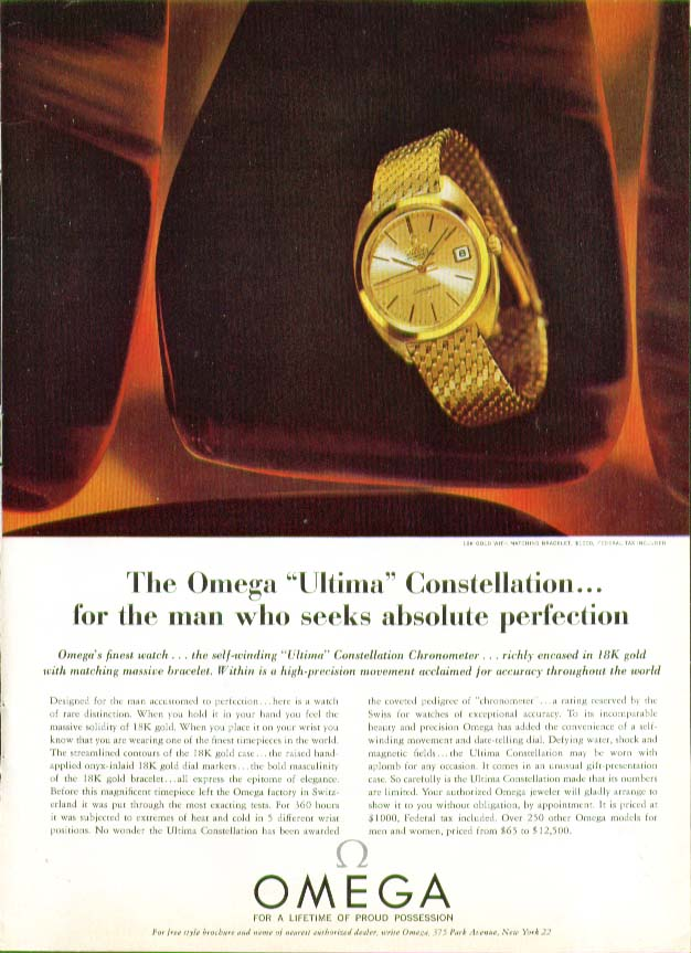 Omega Ultima Constellation Watch perfection ad 1964