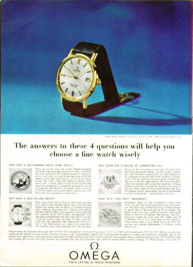 Answer these 4 questions choose Omega Watch ad 1964