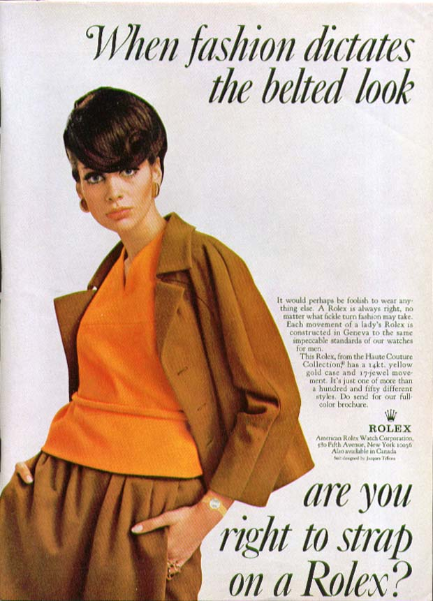 Fashion dictates beltless strap on a Rolex ad 1967