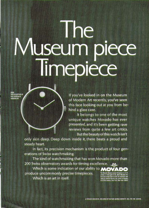 The Museum piece Timepiece Movada Watch ad 1968