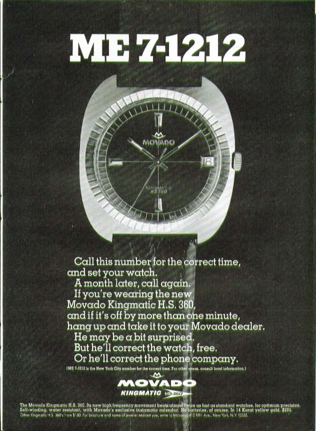 ME-7-1212 for the time Movado Kingmatic Watch ad 1969