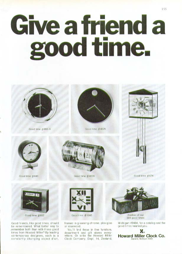 Give a friend a good time Howard Miller Clock ad 1973