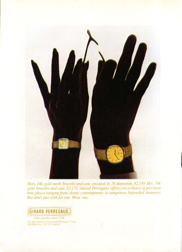 Hands wishbone Girard Perregaux Watch ad 1979