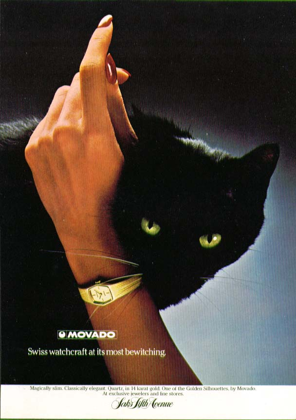 Image for Swiss witchcraft bewitching Movado Watch ad 1979 cat