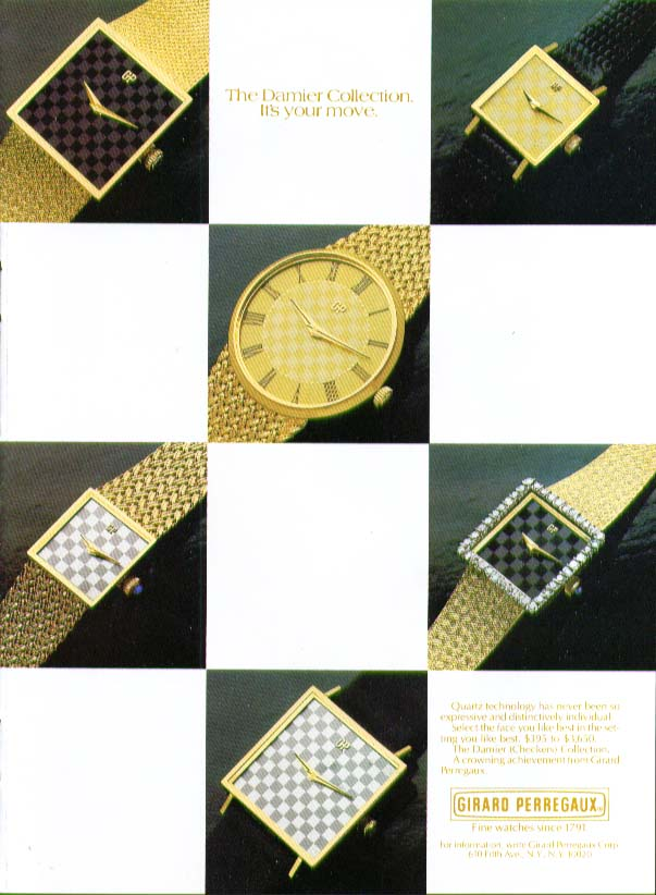 Damier Collection Girard Perregaux Watch ad 1981