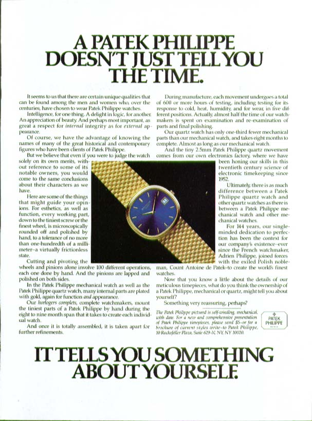 Doesn't just tell you time Patek Philippe Watch ad 1983