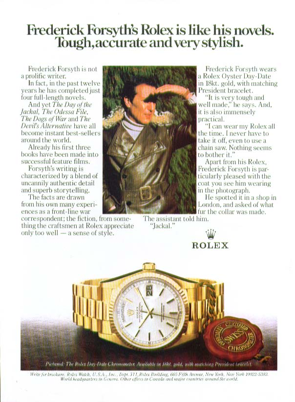 Frederick Forsyth for Rolex Watch ad 1983