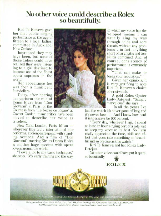 Image for No other voice Kiri Te Kanawa for Rolex Watch ad 1983