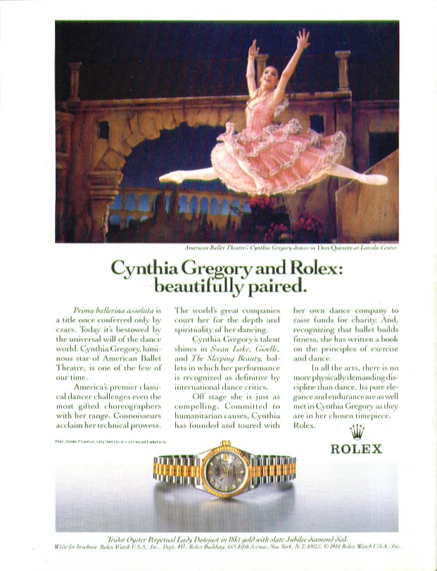 Ballerina Cynthia Gregory for Rolex Watch ad 1988