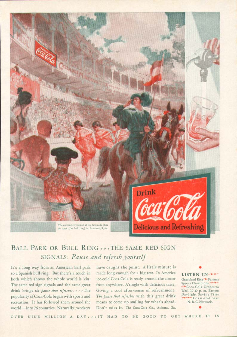 Ball park or bull ring same red sign Coca-Cola ad 1931