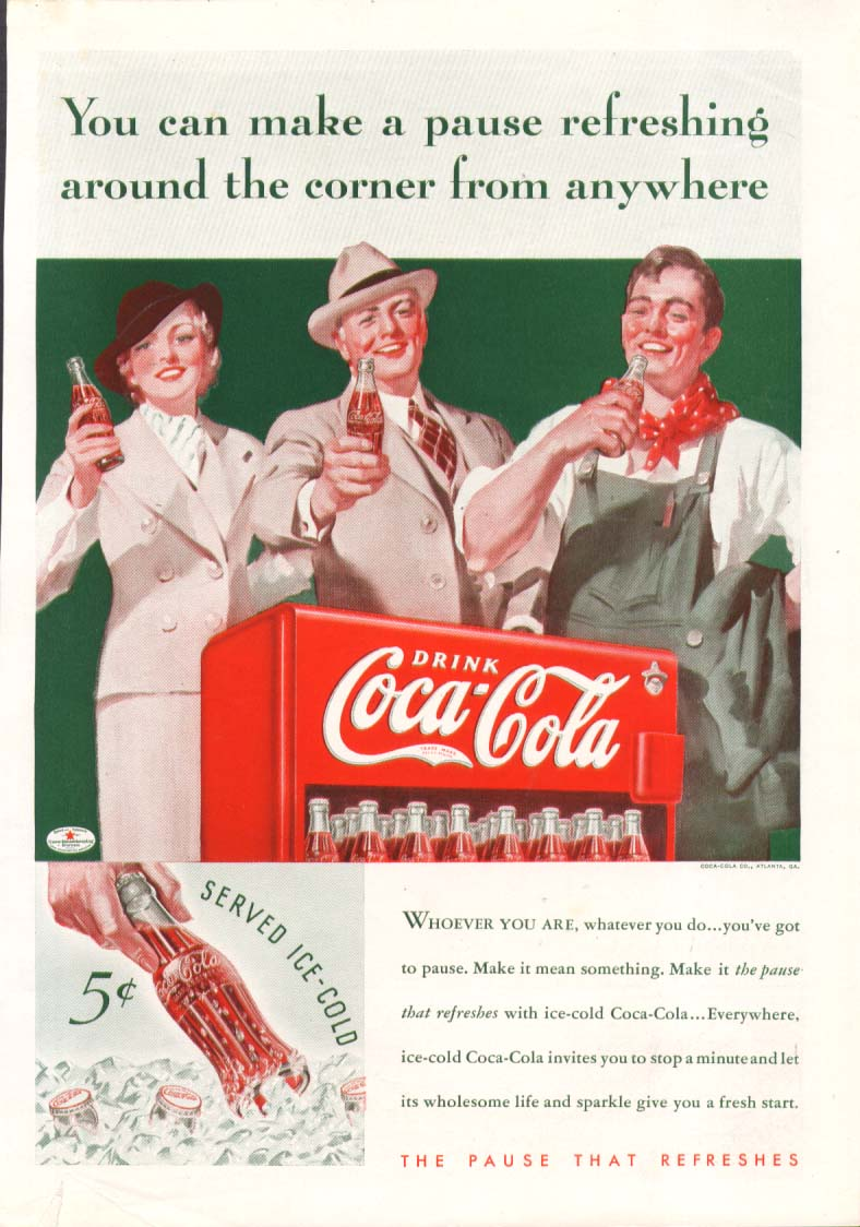 Image for You can make a pause anywhere Coca-Cola ad 1935