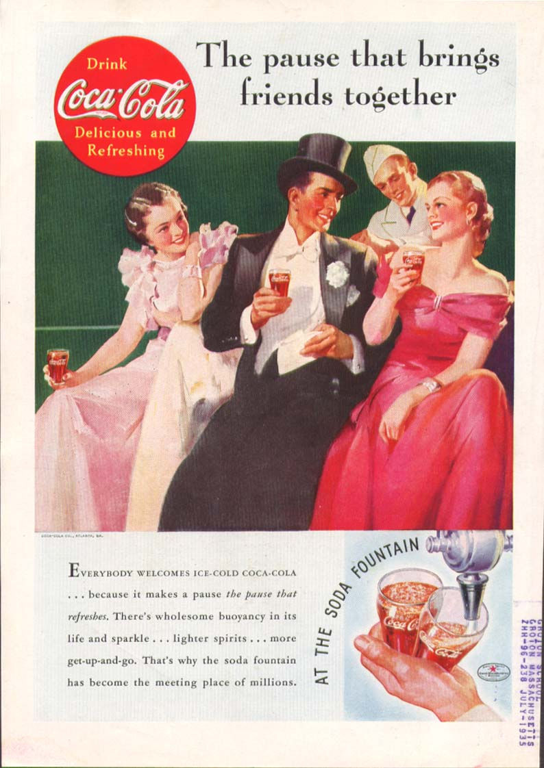 Image for Pause brings friends together Coca-Cola ad 1935