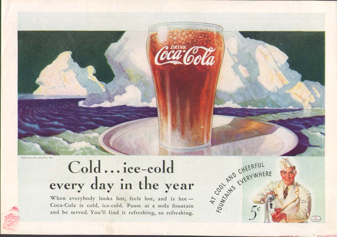 Cold - ice-cold every day of the year Coca-Cola ad 1936